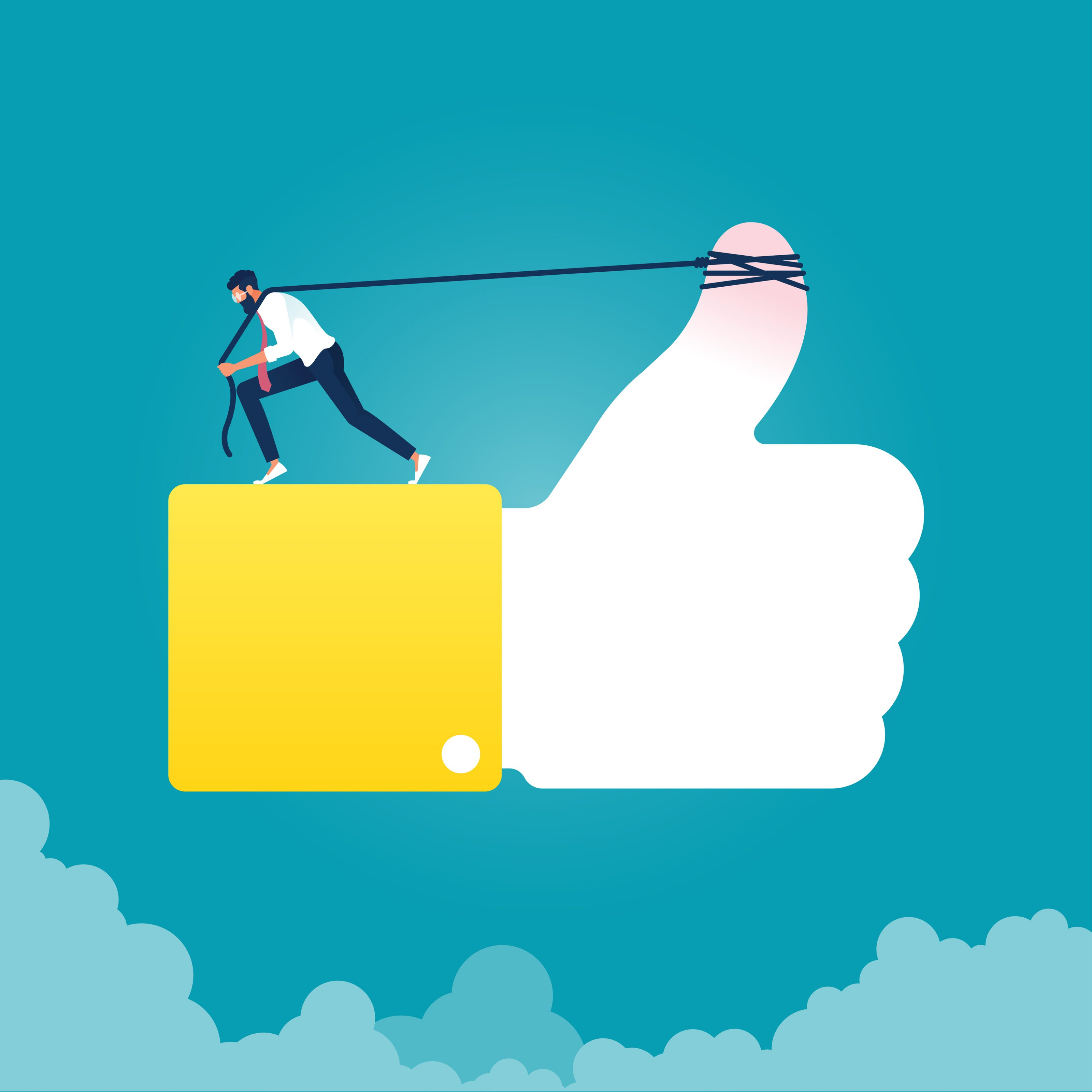 Hard work for positive attitude-Social media marketing concept